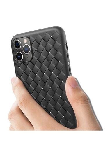 MobilCadde iPhone 11 Hasır Desenli Lacivert Silikon Kılıf Lacivert